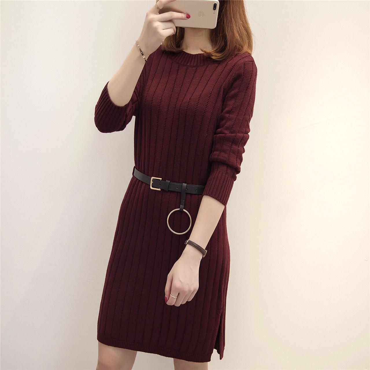 2018韩版女装开叉针织连衣裙秋冬季新款中长款打底衫宽松套头毛衣