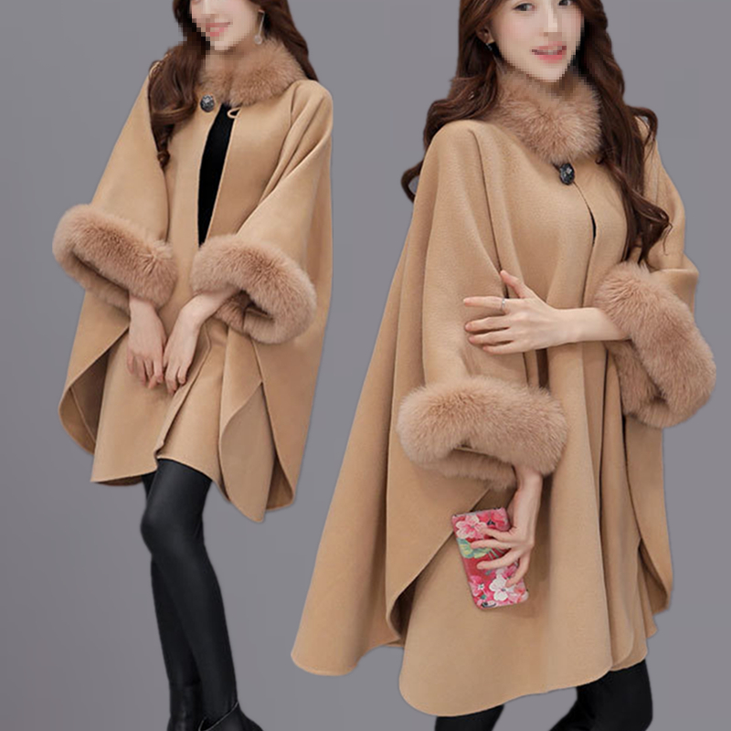 Aw18 large Cape shawl woolen coat womens middle long Korean loose Nizi wool collar woolen coat