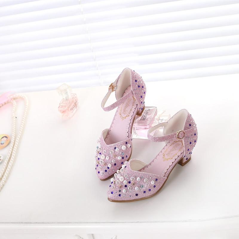 春季上新韩版儿童公主百搭高跟鞋女生主持人舞台表演演出水钻皮鞋