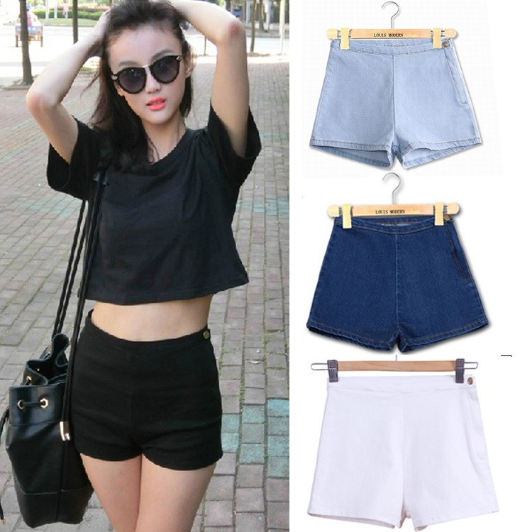 2020 new AA black shorts casual pants summer elastic retro tight high waist jeans shorts hot pants womens white