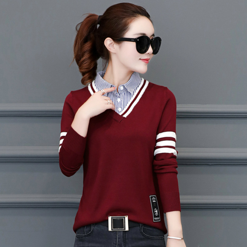 New shirt collar sweater womens wear fake two piece Pullover short autumn and winter loose long sleeve bottoming design knitwear