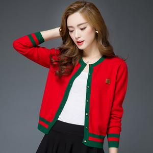 初秋女式外搭羊毛开衫薄款春秋大码宽松欧货羊绒针织短款毛衣外套