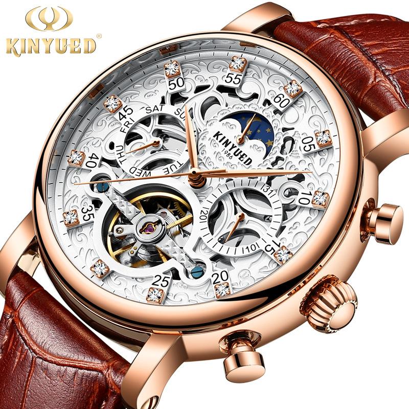 2020 new jinyueda watch mens automatic fashion leather waterproof Tourbillon mens hollow mechanical watch men