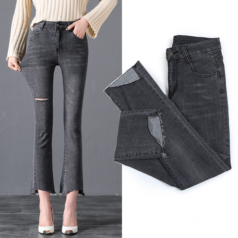 Real Shot Flared Trousers Female 2019 New Style Korean-Style Was Thin Chic wei la ku Spring Vintage Port Taste Jeans