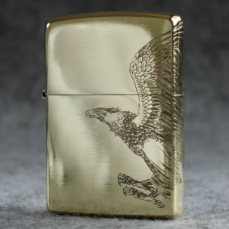 Genuine Zippo windproof lighter pure copper (armor) soars around the etched eagle on three sides