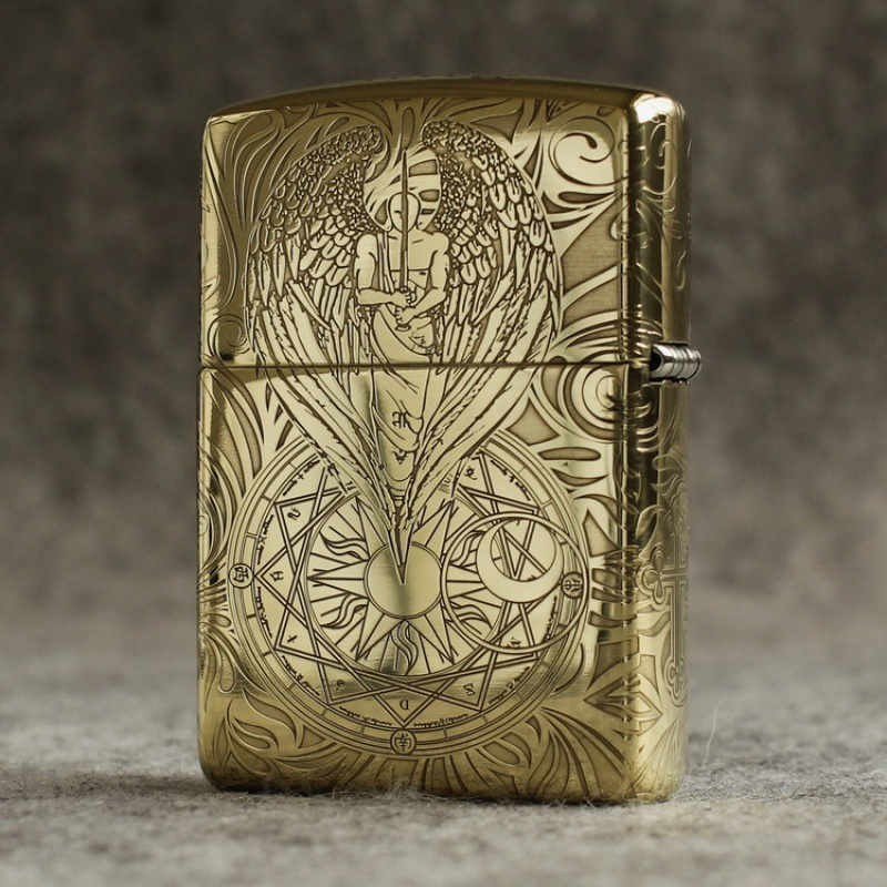 Genuine Zippo windproof lighter pure copper five sided armor surrounded by etched guardian angel