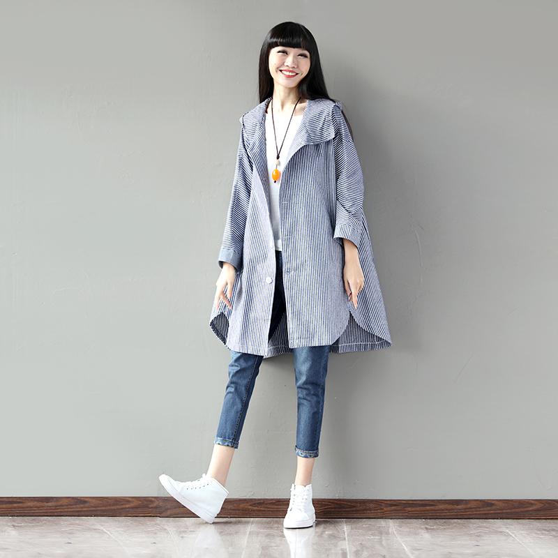 春季新款长袖衬衫布衣风格女宽松中长款条纹连单排扣外套
