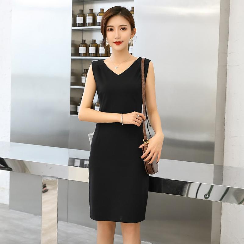 2021夏季新款韩版无袖黑色连衣裙