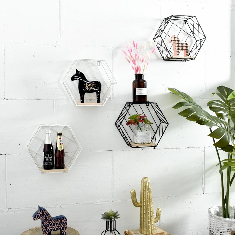 Современный простой нордический ветер стена на творческий сочетание настенный украшения гостиная спальня книжная полка шестиугольник геометрия стеллажи