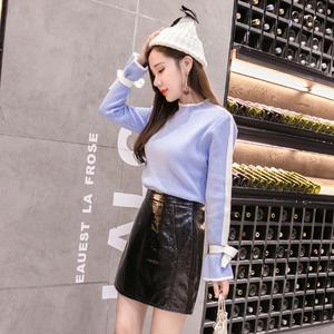 606实拍冬女亮皮裙半身短裙搭配加厚保暖针织衫毛衣两件套装2