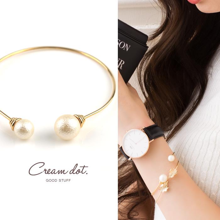 Japanese genuine cream dot exquisite irregular size cotton pearl open bracelet bracelet in stock