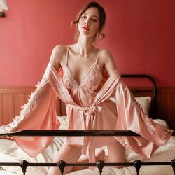 性感睡衣女冰丝套装春秋镂空蕾丝超短吊带睡裙大水袖睡袍两件套