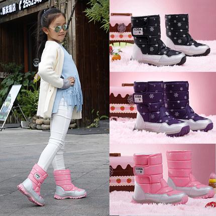 女童靴子2018新款5冬季雪地鞋9儿童7棉鞋加绒6厚保暖4公主短靴7岁