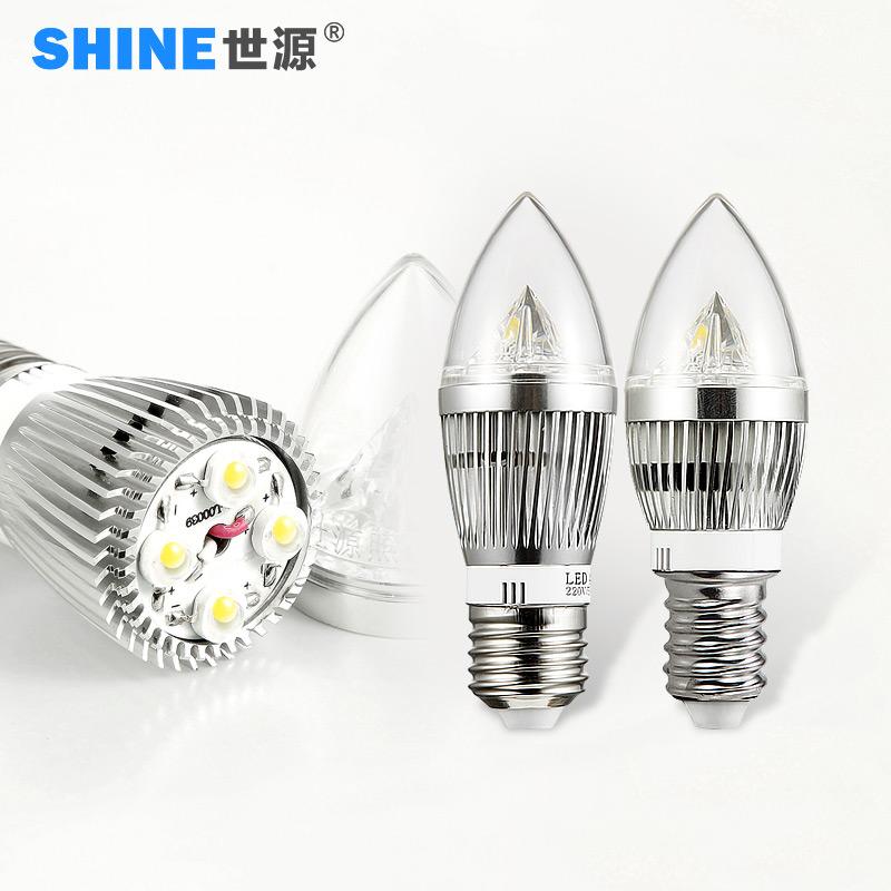 世源LED燈泡LED節能燈4W光源蠟燭尖泡E27 E14螺旋口小螺口L
