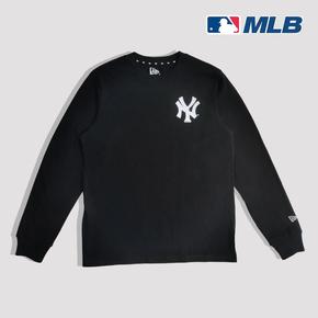华人潮社 MLB Yankees 春季袖标刺绣背后字母印花男女圆领长袖T恤