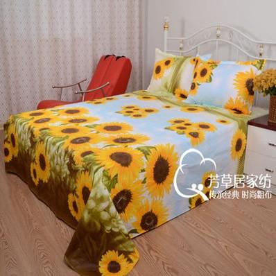 纯棉老粗布床单 订做炕单加厚帆布 向日葵学生宿舍批量发2米秋冬
