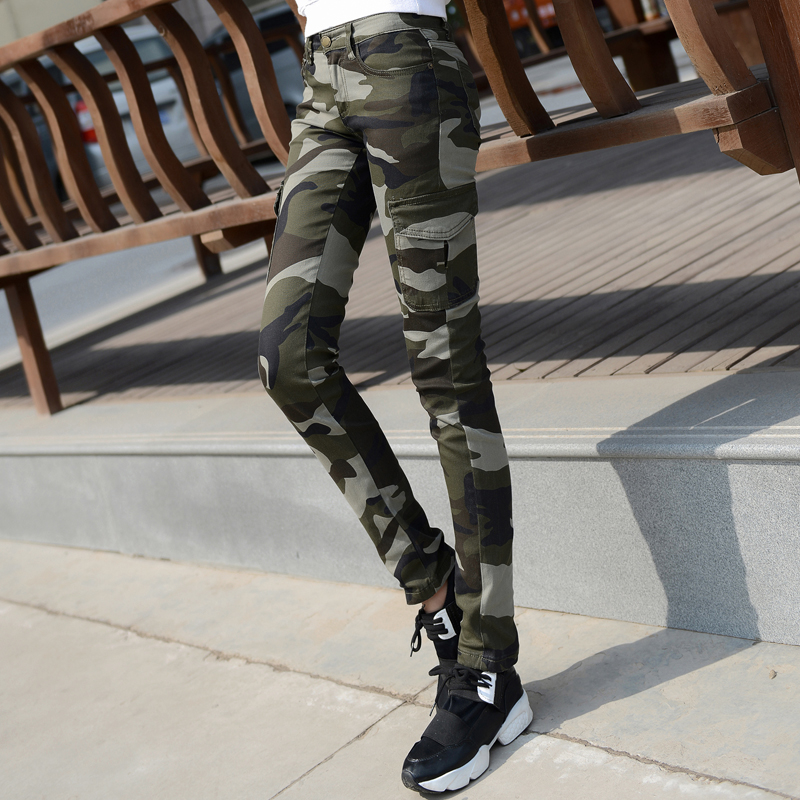 New camouflage pants womens small feet slim pencil pants student army pants large outdoor work clothes pants Han banchao