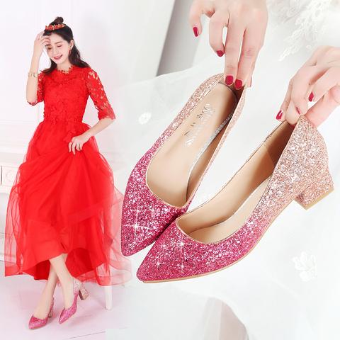 婚鞋女2019新款新娘鞋结婚鞋子高跟水晶鞋婚纱鞋粗跟敬酒中跟孕妇
