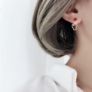 韩国s925纯银针比心红色爱心小手防过敏耳钉少女精致无耳洞耳夹