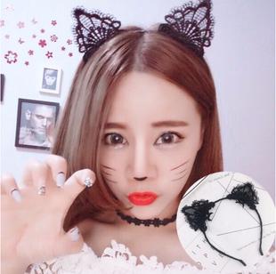 網紅貓耳朵髮箍女百搭外出髮卡可愛韓國頭箍女黑色蕾絲髮卡子頭飾