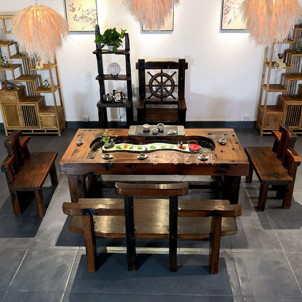 老船木流水茶桌椅组合创意循环养鱼茶台茶几古典禅意实木家具