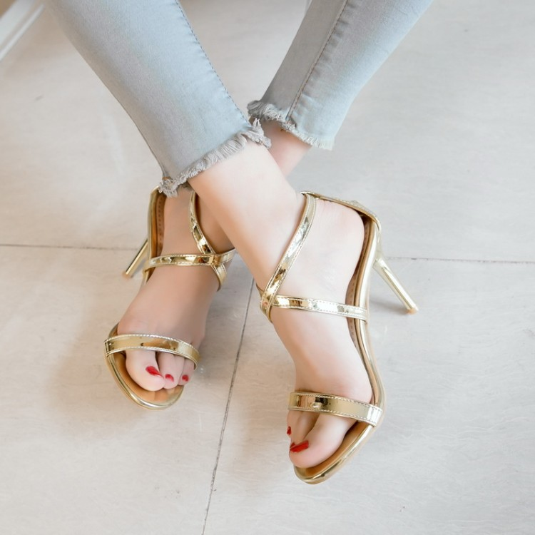 Summer Bohemian sandals womens open toe super high thin heel hollow out button gold silver patent leather girls sexy shoes