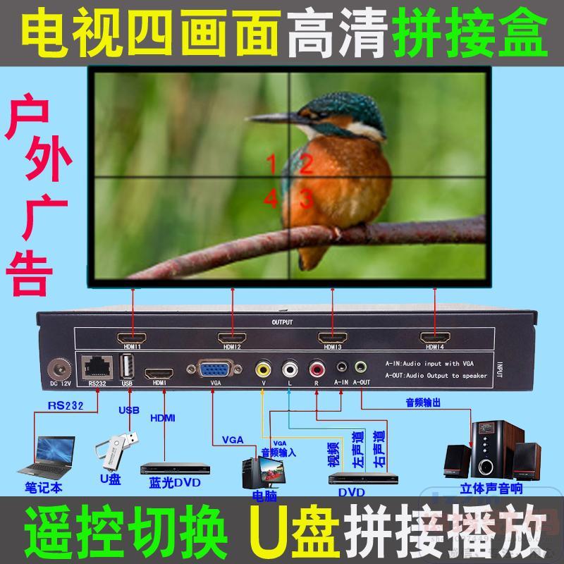 4 ЖК-телевизора с проекцией Процессор склеивания экрана HDMI / VGA / AV1 в 4-х оконный экран для склеивания 4-х дисков
