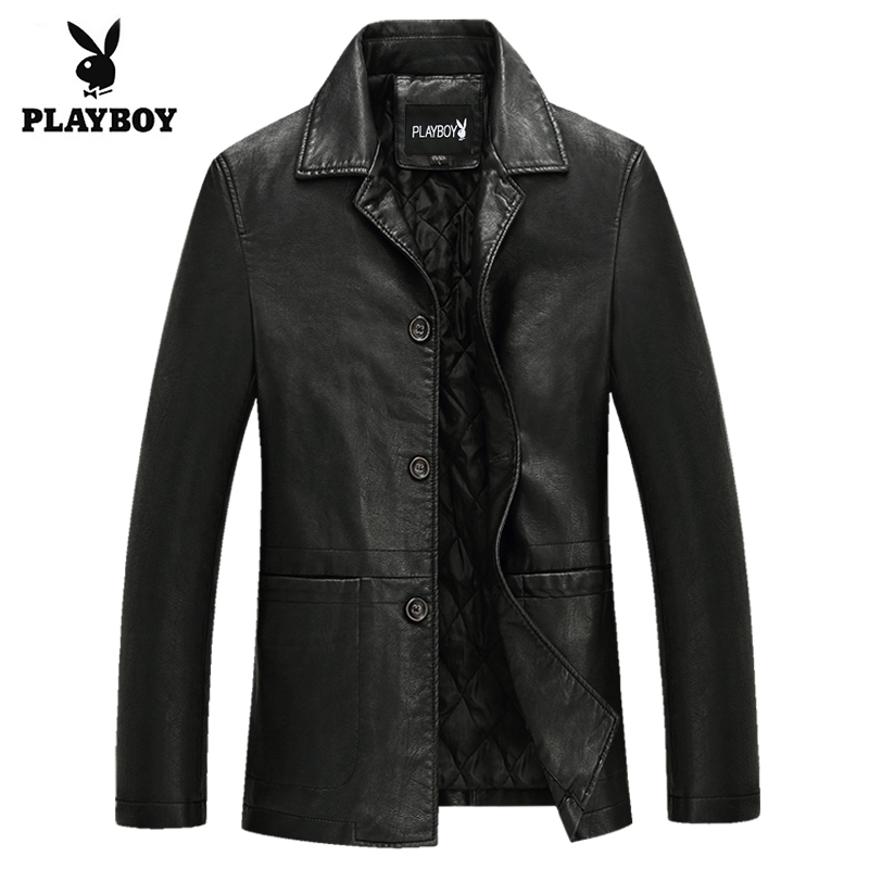 New style Playboy spring clothes thin middle aged and old mens leather coat with cotton padded lapel jacket