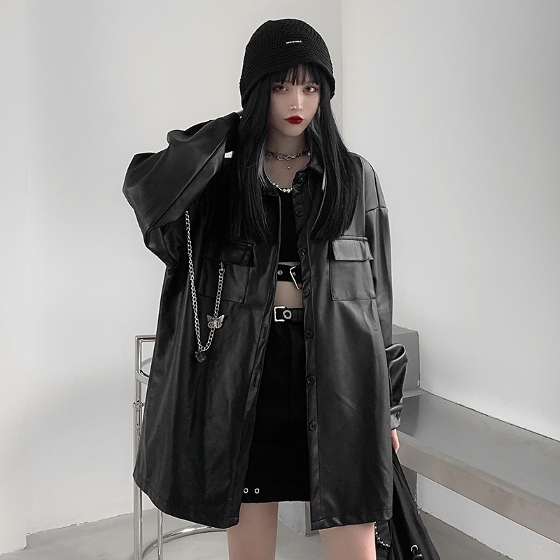 Real price ~ control price 48 yuan yuansufeng dark black loose metal chain decorative leather Shirt Plush coat