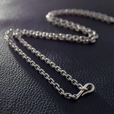 不拘 925纯银3.2mm太角链男士项链 泰银复古个性潮男锁骨链