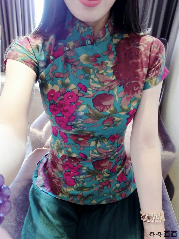 民国风文艺复古中式盘扣修身改良旗袍上衣女装棉麻短袖夏季唐装女