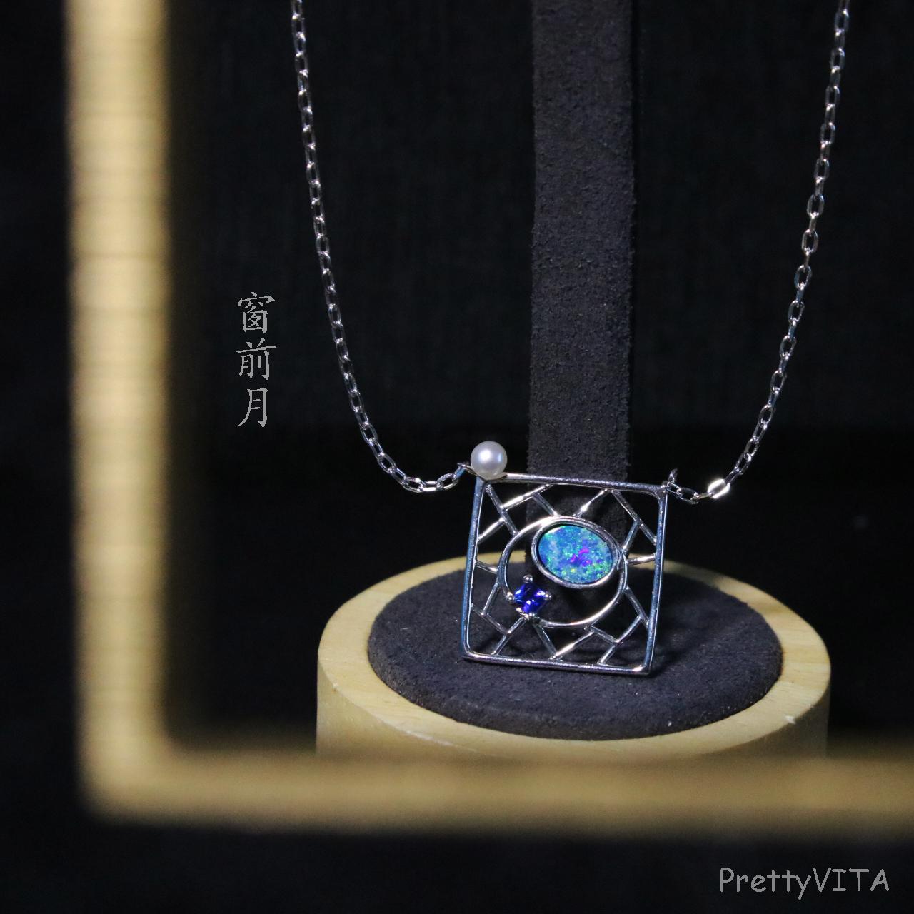 Necklaces women design feeling Pure Silver Freshwater Pearl opal two-layer stone pink green tourmaline window Jiangnan moon