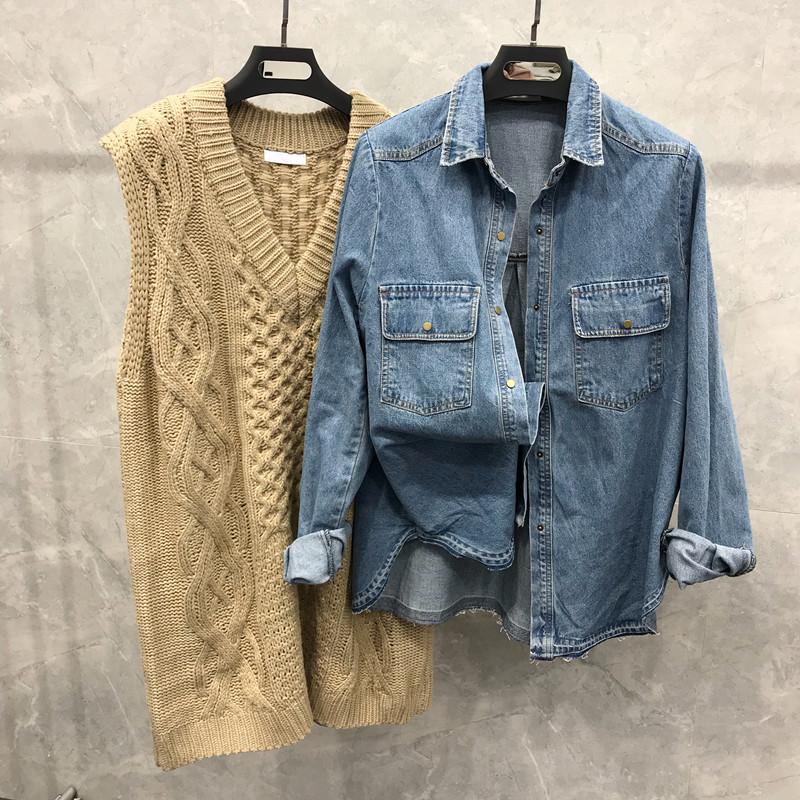 冬装新品韩版宽松百搭水洗牛仔衬衫小粒扣上衣显瘦外套打底2018女