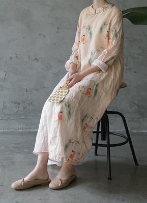 Yan Wukui 2020 summer new national style linen Hanfu loose cheongsam retro literary and artistic big one-piece dress