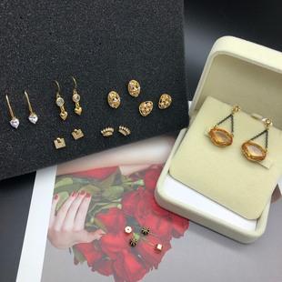 勞倫RLL 水晶耳環JC皇冠打標耳釘MK迷你耳飾合集銅質 耳飾品 女