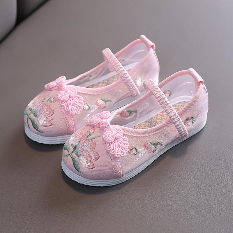 女童凉鞋儿童夏季透气网鞋汉服童鞋古装民族中国风北京布鞋绣花鞋