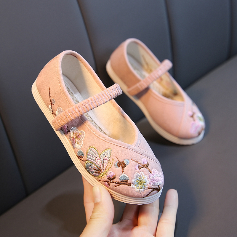 汉服女童老北京绣花鞋儿童布鞋中国风宝宝公主鞋学生古装表演出鞋