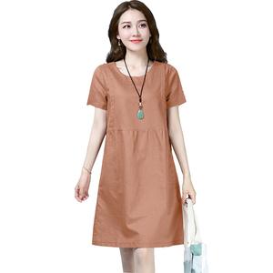 2021年新款棉麻夏季中长款连衣裙