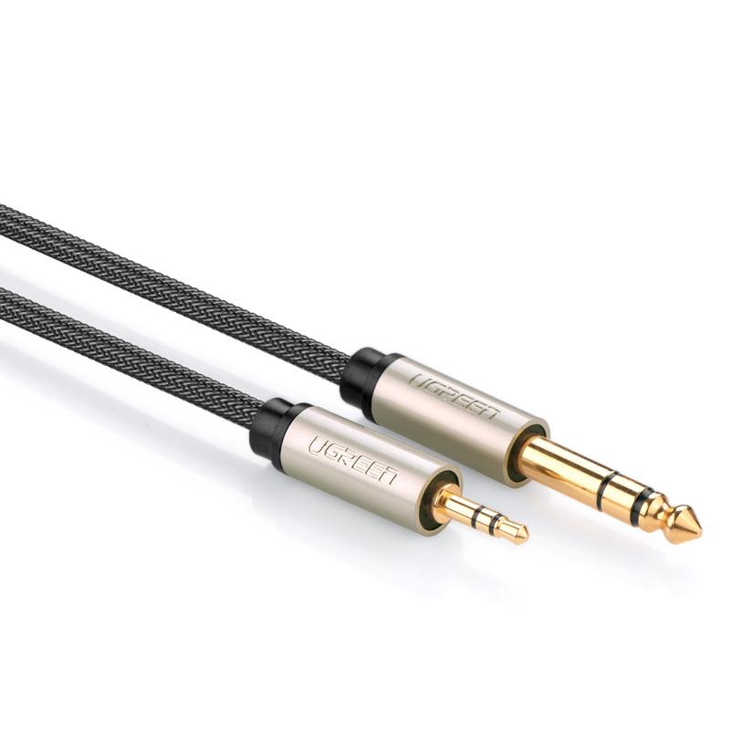 綠聯 AV127大二芯6.35mm音頻線功放連接信號線3.5轉6.5音箱公對公