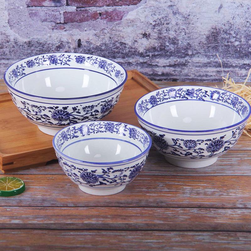 青花瓷牛肉麵碗商用油潑面碗7寸大碗湯碗牛肉拉麵碗燴面碗8英寸