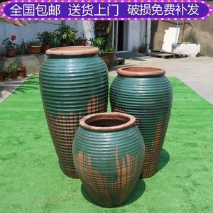清仓螺纹粗陶罐土陶景观摆件落地户外种植组合复古装饰品陶瓷花瓶