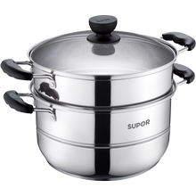 Supol 304 stainless steel 28cm large steamer with 2,2,3 and 3 layers thick induction cooker gas stove is small for household use