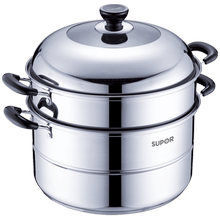 Super Steam Cooker Stainless Steel Double Bottom Thickening Steam Cooker Multi-purpose Two-layer Steam Cooker Electromagnetic Furnace General 32cm