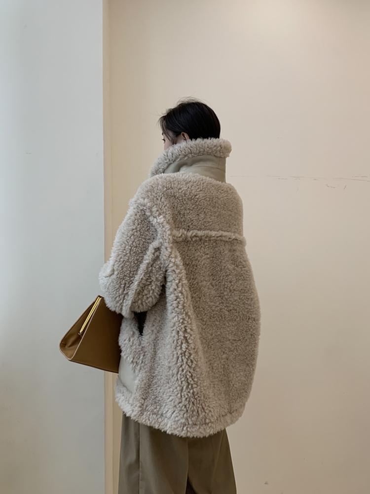 Lamb wool coat female winter 2019 new fur sheep shearer coat Tuscany wool granule fur