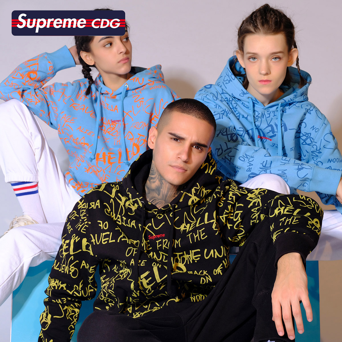 Supreme CDG 2020年春季新品个性字母印花时尚休闲连帽卫衣男女款