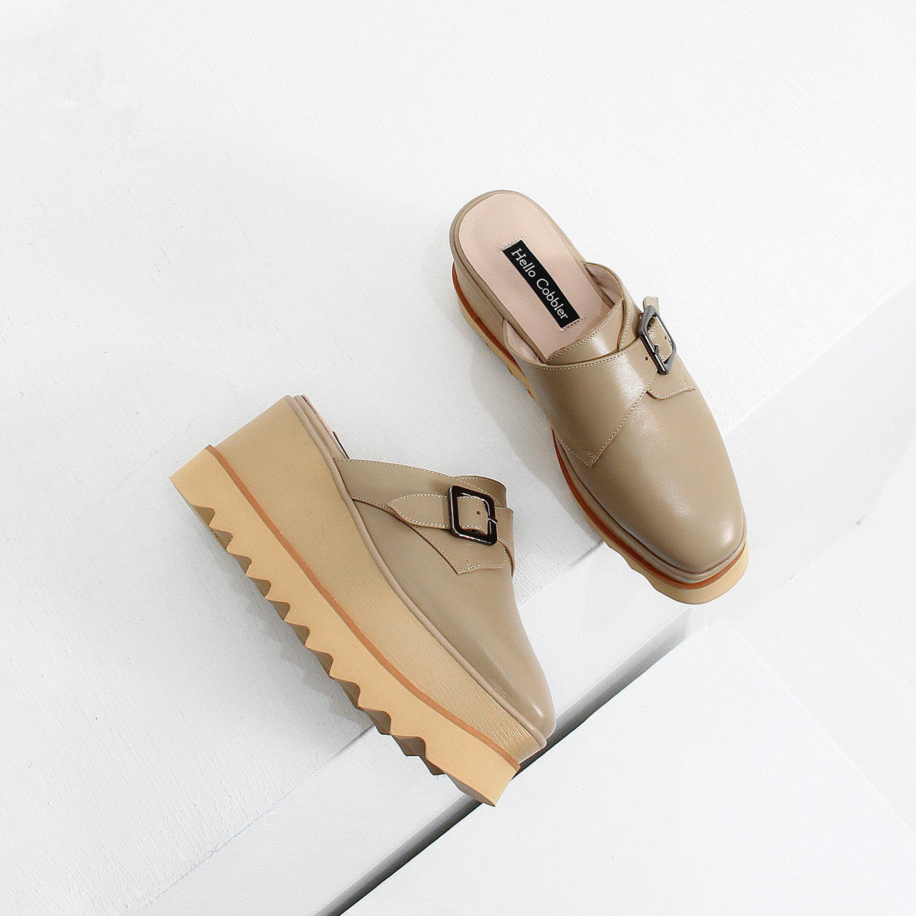 2020春季新款凉拖鞋女皮带扣真皮厚底鞋包头凉鞋防水台增高松糕鞋