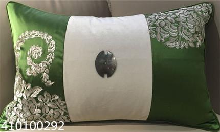 现代中式纺丝绣花订扣腰枕/沙发靠垫/样板房靠包