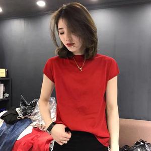 欧洲站无袖冰丝上衣女薄款2020夏装新款韩版宽松半高领短袖针织衫
