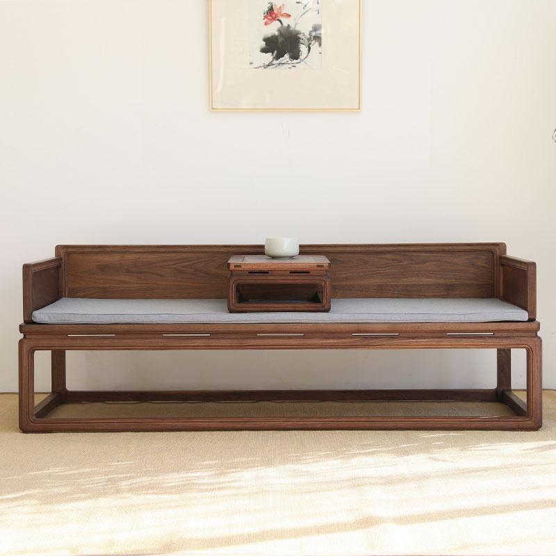 木标新中式老榆木罗汉床小炕桌禅意仿古实木罗汉榻沙发免漆家具