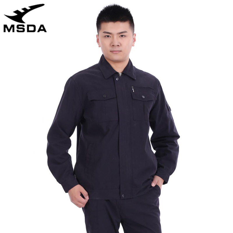 Pure cotton anti-static overalls coat factory workshop uniform solid color Lapel uniform in spring and autumn of 2020